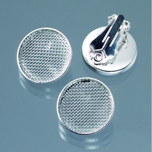 Öronclips med sil ø 19 mm - försilvrad 2 st. runda