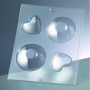 3-D Gjutform för tvål 85 mm / 62 mm - rund + hjärta / 2 delar