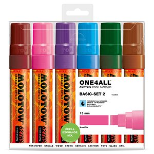Akrylmarker One4All 15mm 6 Pennor - Basic II