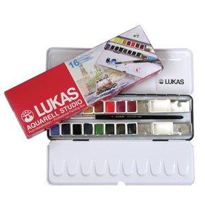 Akvarellåda Lukas Studio metall - 16st 1/2-koppar inkl pensel