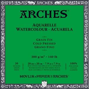 Akvarellblock Kallpressad Arches 300g