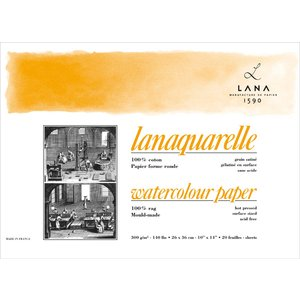 Akvarellblock Lana Lanaquarelle 300 Varmpressat Slät Gräng
