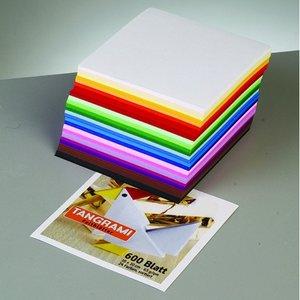 Ark för vikning - Tangrami 10 x 10 cm - 500 ark / 70 g / m² 10 färger / blandade