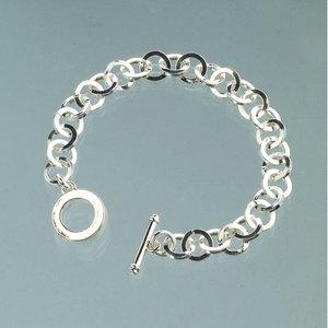 Armband l 18 cm - försilvrade platta länkar