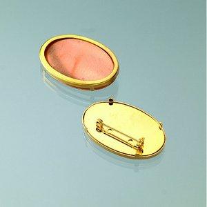 Brosch för emaljering 45 x 30 mm - guldpläterad oval