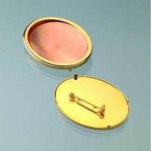 Brosch för emaljering 54 x 40 mm - guldpläterad oval