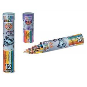 Färgpennor i plåtrör