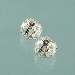 Filigran smyckespärla ø 11 mm - försilvrade 4 st.