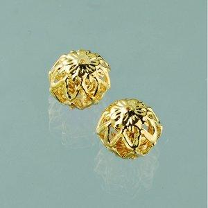 Filigran smyckespärla blank ø 10 mm - guldpläterade 4 st.