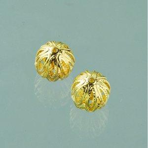 Filigran smyckespärla fin ø 10 mm - guldpläterade 4 st.