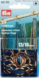 Gardinringar mässing förgyllda 13/18 mm 24 st