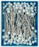 Glashuvade knappnålar vitt huvud