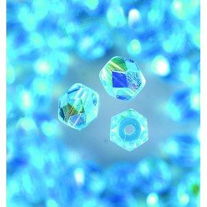 Glaspärlor facetterade - aqua - runda