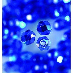 Glaspärlor facetterade - blå - runda