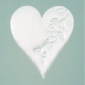 Hjärta satin lösa 52 mm - 50-pack - vit