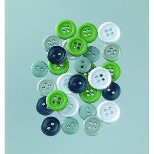 Knappar 10 - 15 mm - grön mix 40 g grön