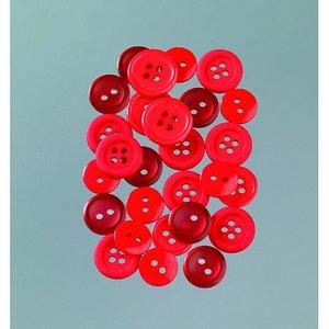 Knappar 10 - 15 mm - röd mix 40 g röd