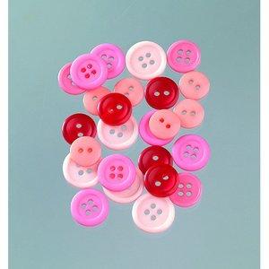 Knappar 10 - 15 mm - rosa mix 40 g rosa