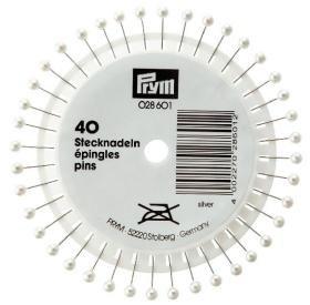 Knappnålar med pärlhuvud silverfärg 40 st