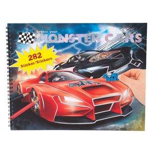 Målarbok med stickers - Monster Cars