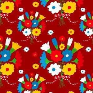 Mönstrad Trikå 150 cm - Blompladask Röd
