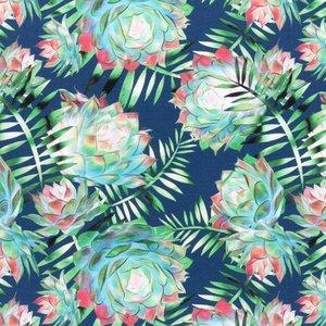 Mönstrad Trikå 150 cm - Dahlia Mörkblå