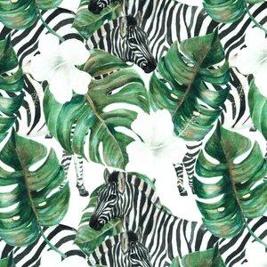 Mönstrad Trikå 150 cm - Djungel Zebra