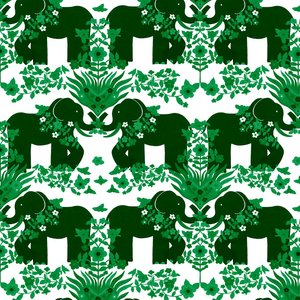 Mönstrad Trikå 150 cm - Elefant Grön