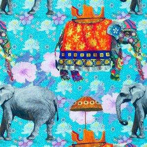 Mönstrad Trikå 150 cm - Elefant Multi