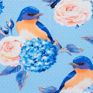 Mönstrad Trikå 150 cm - Fågel Ljusblå