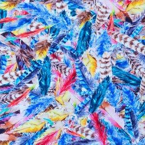 Mönstrad Trikå 150 cm - Fjädrar Multi