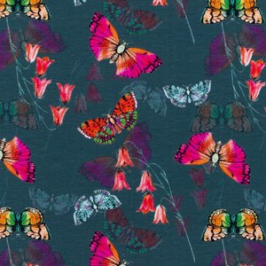 Mönstrad Trikå 150 cm - Fjäril