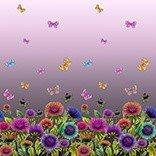 Mönstrad Trikå 150 cm - Fjärilar Lila