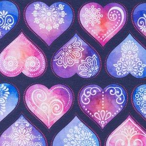 Mönstrad Trikå 150 cm - Hjärtan Mörkblå