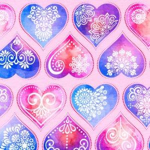 Mönstrad Trikå 150 cm - Hjärtan Rosa