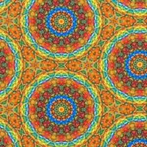 Mönstrad Trikå 150 cm - Mandala Ockra Multi