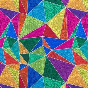 Mönstrad Trikå 150 cm - Mandala Triangel