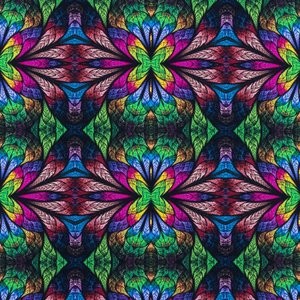 Mönstrad Trikå 150 cm - Mosaik Blommor Grön
