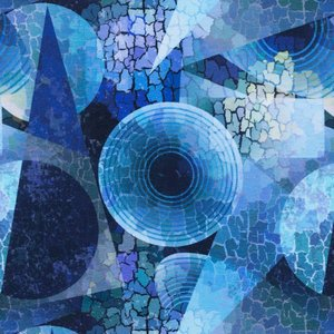 Mönstrad Trikå 150 cm - Mosaik Geometri Blå