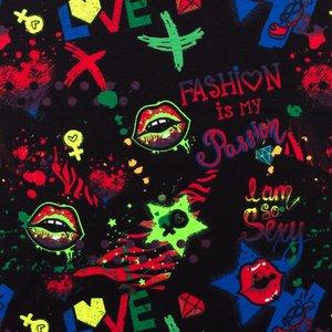 Mönstrad Trikå 150 cm - Neonfärg Graffiti