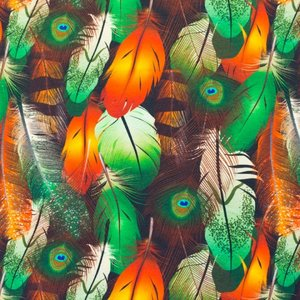 Mönstrad Trikå 150 cm - Påfågelfjädrar
