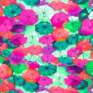 Mönstrad Trikå 150 cm - Paraply Fuchsia