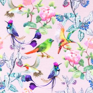 Mönstrad Trikå 150 cm - Peony Birds Gammaldags Rosa