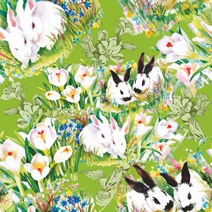Mönstrad Trikå 150 cm - Rabbits