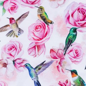 Mönstrad Trikå 150 cm - Rosa Kolibri