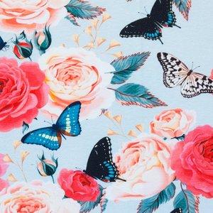 Mönstrad Trikå 150 cm - Rosor Fjärilar