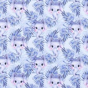 Mönstrad Trikå 150 cm - Små Elefanter Blå
