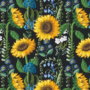 Mönstrad Trikå 150 cm - Solrosor Blå Blommor
