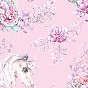 Mönstrad Trikå 150 cm - Unicorn Flower Pink