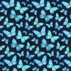 Mönstrad Trikå 150 cm - Vattenfärg Fjäril Blå